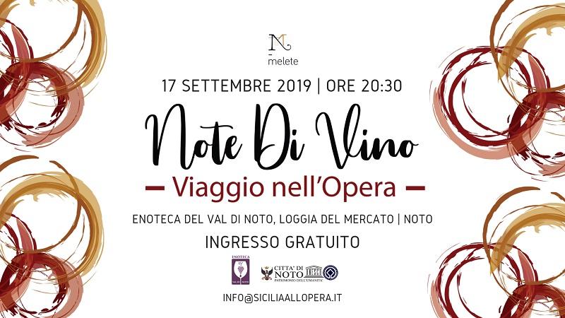 Note di Vino, lirica e vino il 17 settembre alla Loggia del Mercato di Noto